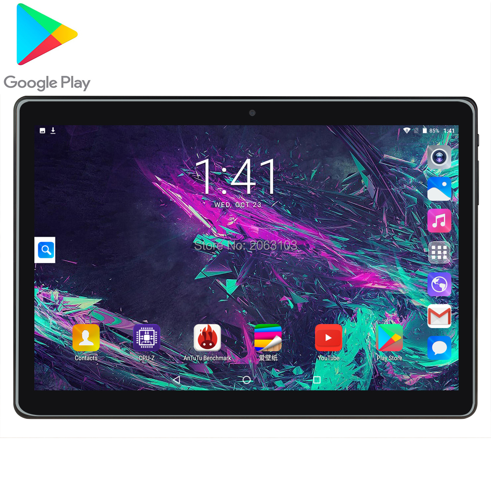 Free Shipping Tempered Glass 10 Inch Tablet Android 7.0 MTK Phone Call Wifi GPS 2GB+32GB Media Touch Tablet 10.1 PC Gift