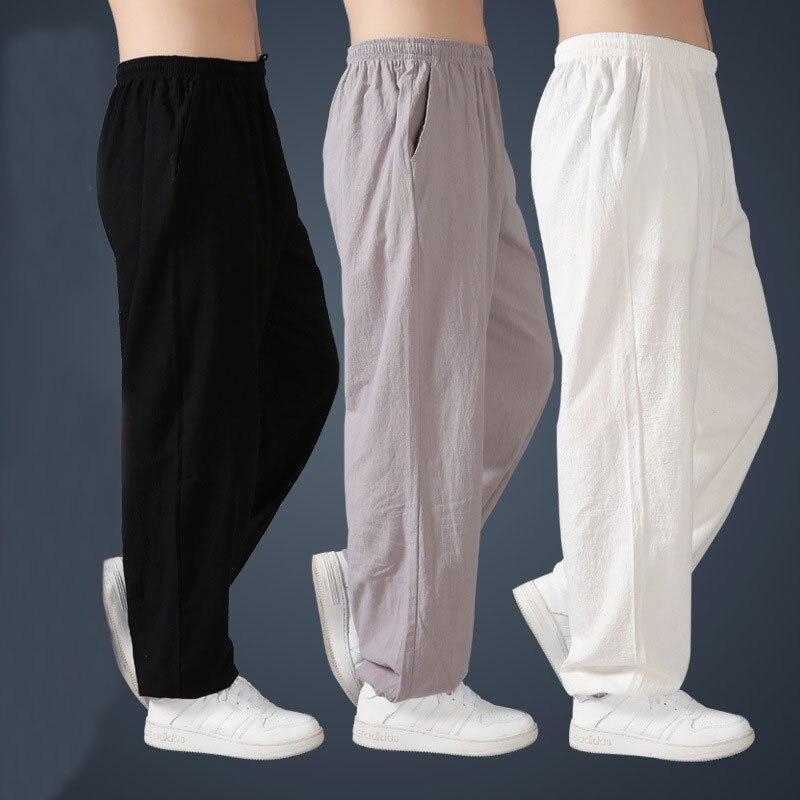 Мужские штаны из льна и хлопка с эластичной резинкой на талии