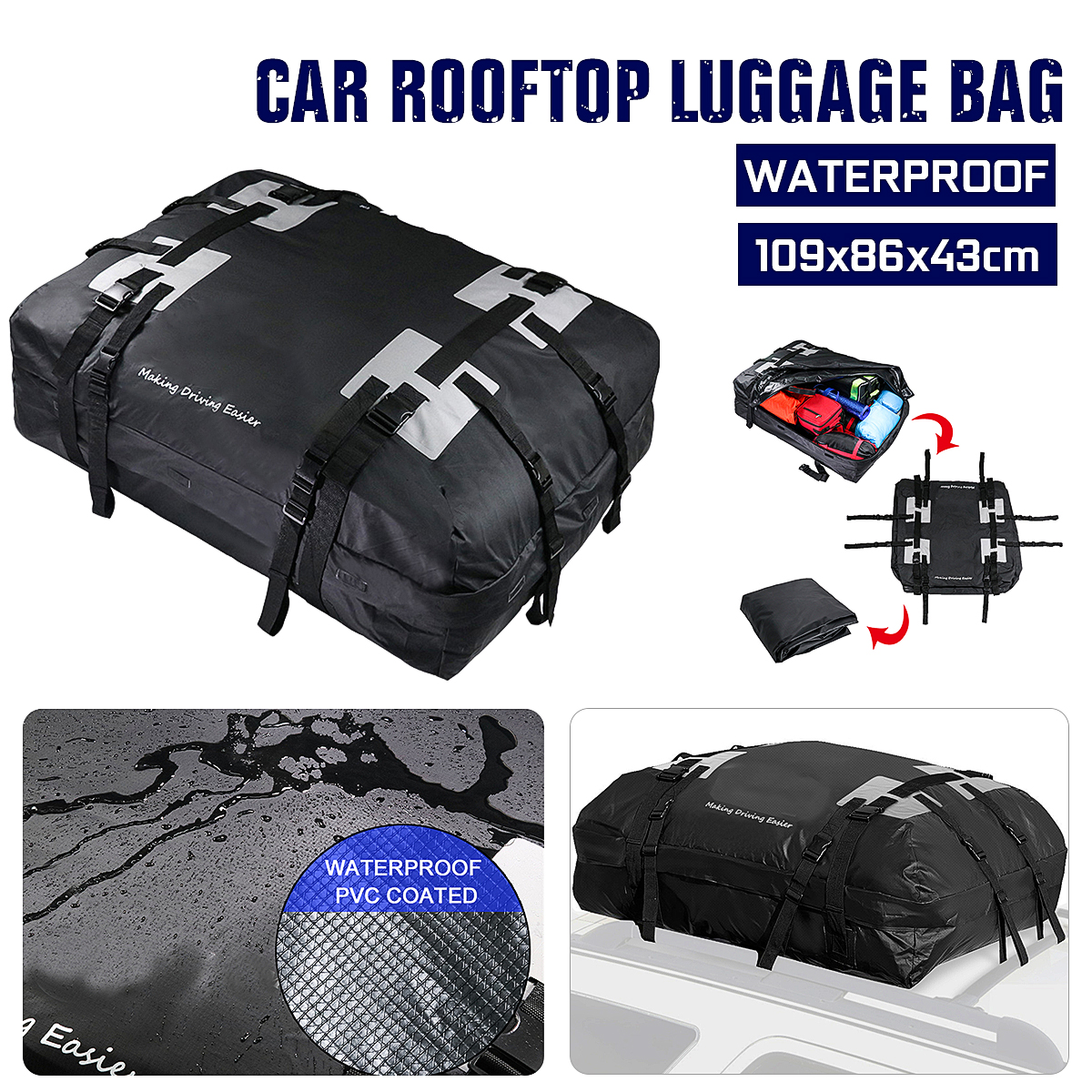 Universal 43 Inch Car Cargo Waterproof Roof Top Rack Carrier Bag Storage Luggage Travel Organizer Exterior Parts 109x86x43cm