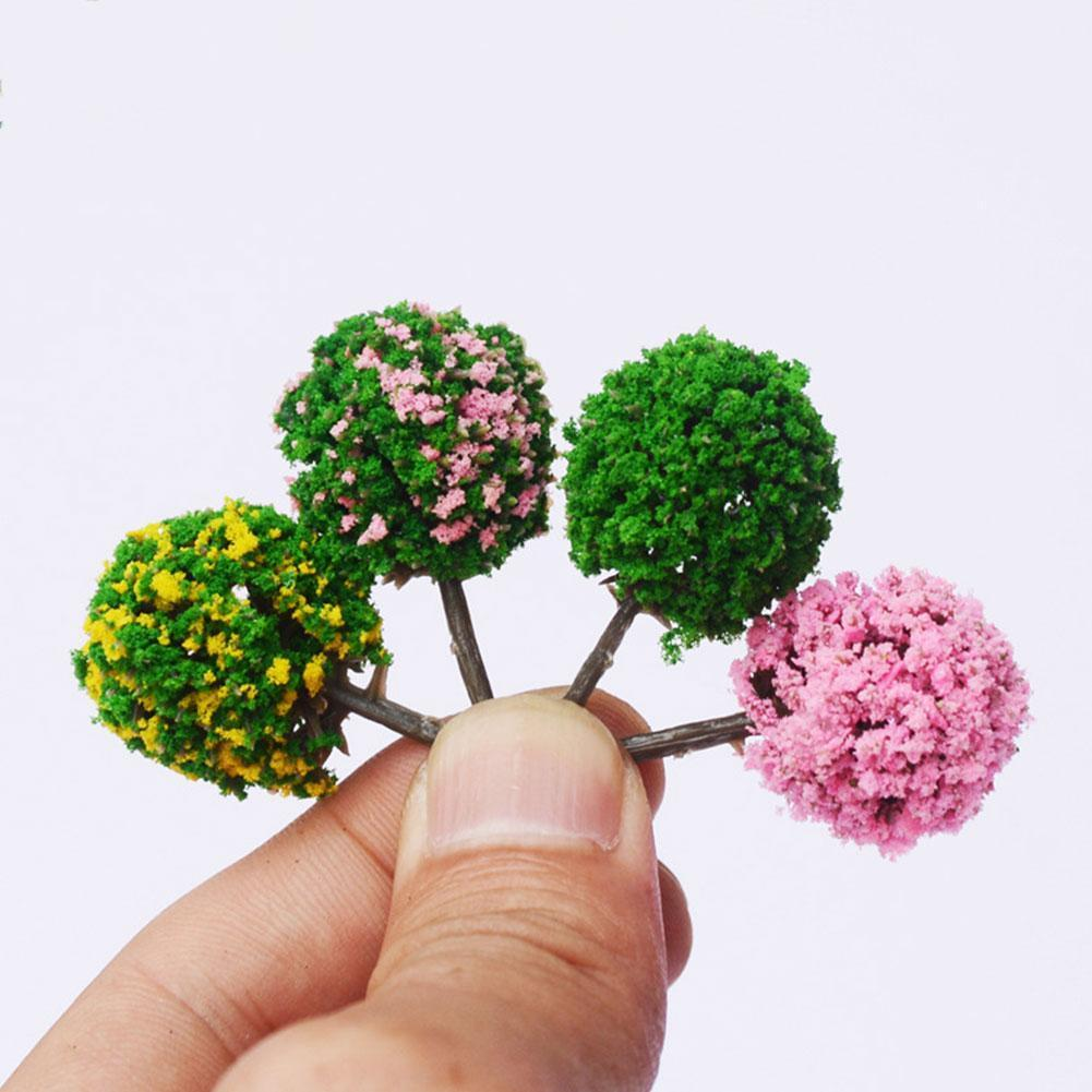 50pcs Flower Model Train Round Trees Ball Shaped Scenery Colors Scale Landscape 1/87 Mixed K7W9