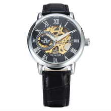 Clock Dial Hollow Out Mechanics Wrist Watch Business Affairs Genuine Leather