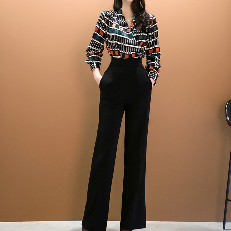 2019 NEW Office Lady 2 Piece Set Women Printed V-Neck Long Sleeve Shirt Top+Black High Waist Pant Suits Elegant Outfits
