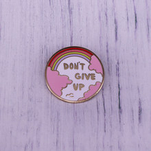 Riso Art Don't Give Up Enamel Pin Rainbow Clouds Seagull Brooch Round Badge(China)