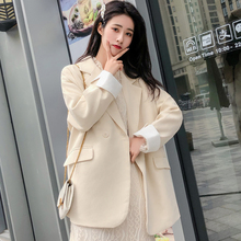 Loose Casual Women Blazer Retro Simple Solid Beige Suit Jacket Long Sleeve Bleyser Mujer Korean Women Jacket Large Size MM60NXZ