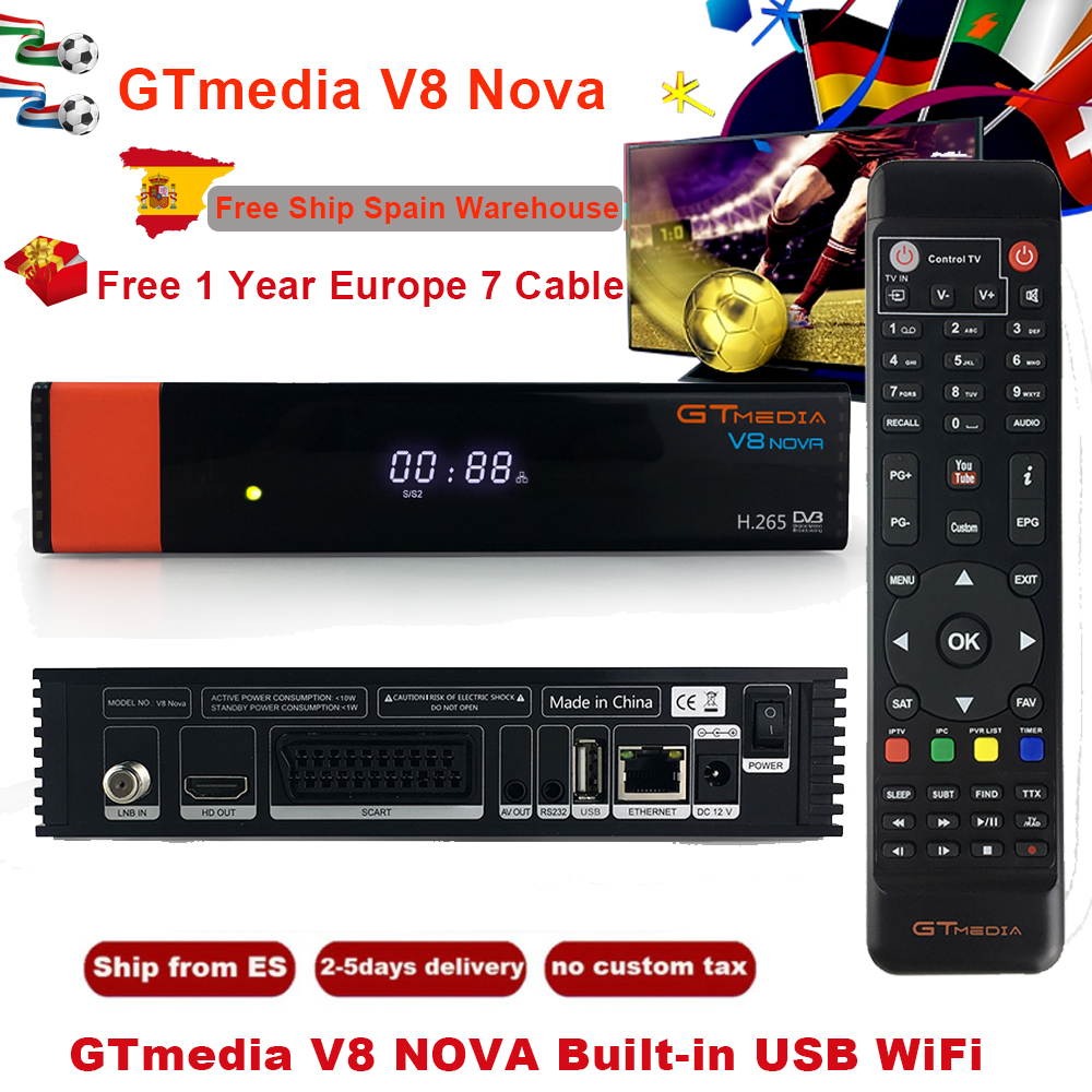 Hot Sale GTMedia V8 Nova Full HD DVB-S2 Satellite Receiver With 1 Year Europe Support Youtube Hotstar Genuine Satellite Receptor