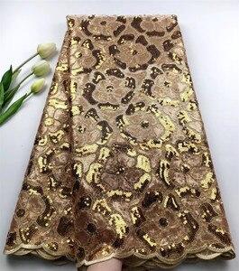 2020 lujo oro perlas hechas a mano/Tela de encaje de lentejuelas mejor calidad encaje para mujeres vestido bordado tul francés tela de encaje HSFZF