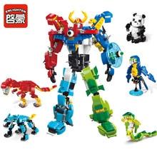 NEW 1403 ENLIGHTEN Morphing Robot 5 In 1 Creator Of God War Model Building Blocks Action Figure Bricks Toys Gifts For Children