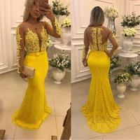 Sexy Bridesmaid Dresses Long Sleeve Applique Lace Mermaid Floor Length Wedding Party Guest Gowns Party Prom Customize