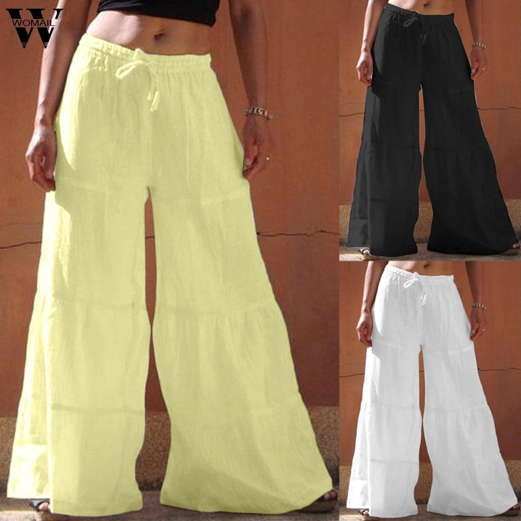 Womail Women   Pants     capris   High Waist Wide Leg   Pants   Casual Loose Full Length   Pants   Fitness Sports Baggy Korean Style 2019 J724