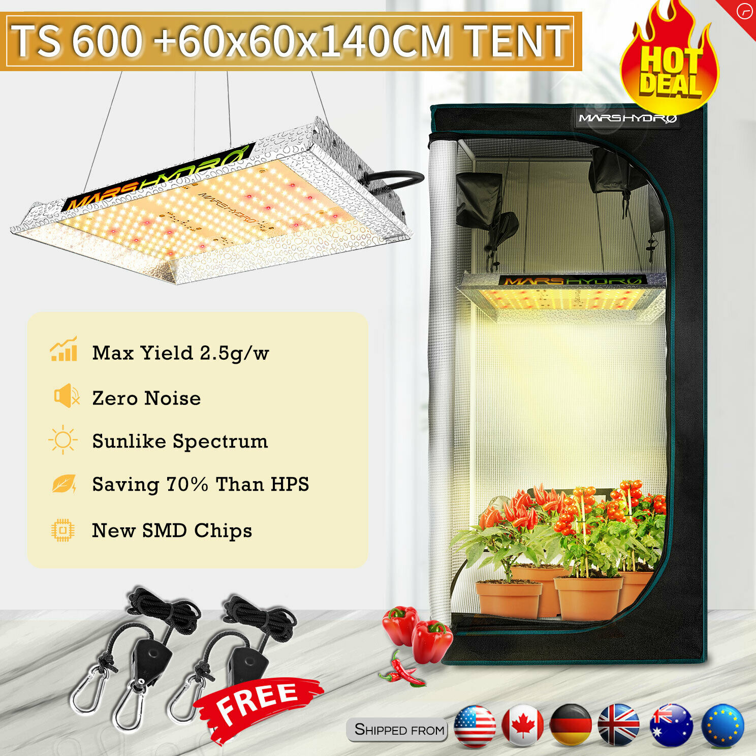 Mars Hydro Full Spectrum TS 600W LED Grow Light & 1680D 60*60*140 Grow Tent , Hydroponics Lamp