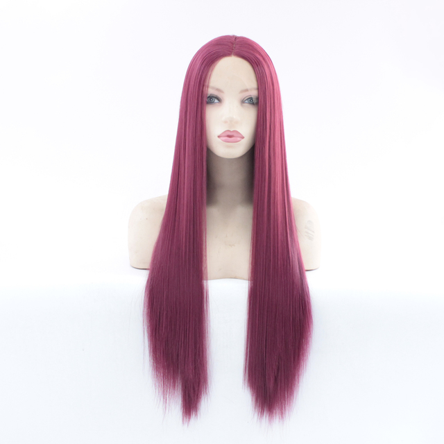 MRWIG Middle Part #2030 dark burgundy Long Straight Heat Resistant Fiber Glueless Wigs For Women Synthetic Lace Front Wig