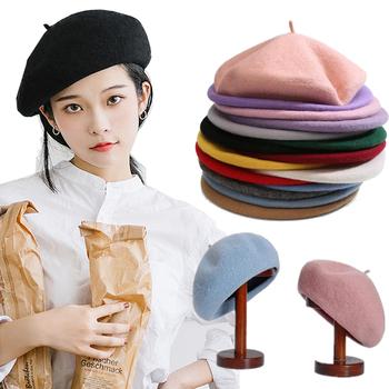 Kobiety dziewczyna Beret francuski artysta ciepła wełna czapka zimowa czapka Vintage zwykły berety Solid Color elegancka dama czapki zimowe tanie i dobre opinie Z wełny CN (pochodzenie) Dla dorosłych Unisex Beret Cap Stałe Na co dzień