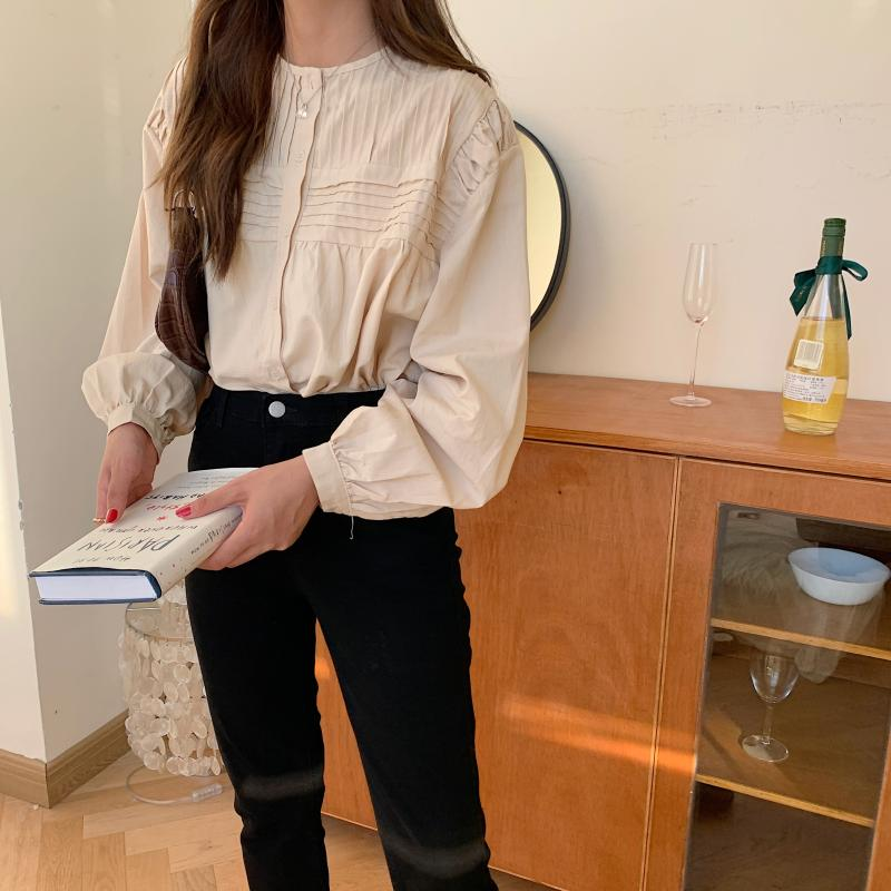 Hbe82364f95574361ace621ca91aca6dc2 - Spring / Autumn Korean O-Neck Long Sleeves Pleated Solid Buttons Blouse