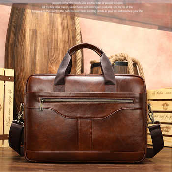 Luufan Genuine Leather Business Briefcase For Man Formal Leahter 15.6 inch Laptop Bag Male Shoulder Crossbody Bag Book Bag - DISCOUNT ITEM  50% OFF All Category