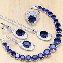925 Jóias de Prata esterlina Zircão Azul Branco Beads Conjuntos de Jóias Para As Mulheres Brincos/Pingente/Anéis/Pulseira/conjunto de colar