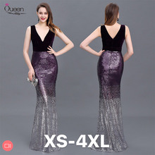 Pailletten Abendkleid Mermaid Doppel V ausschnitt Bodenlangen Ärmellose Elegante Abend Party Kleider 2020 Neue Kleid Königin Abby