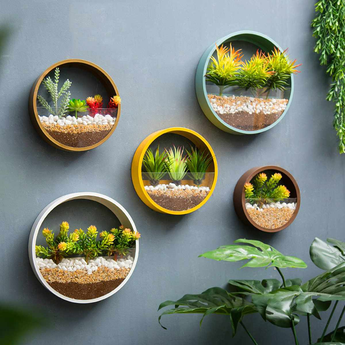 4 Colors Wall Vase Home Living Room Restaurant Hanging Flower Pot Wall Decor Succulent Plant Planters Round Iron Art Glass Vases