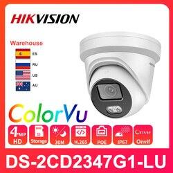 Hikvision оригинальный ColorVu ip-камера безопасности DS-2CD2347G1-LU HD 4MP сети пуля PoE H.265 + WDR (широкий динамический диапазон) ДНР CCTV IP камера Слот для карты SD...