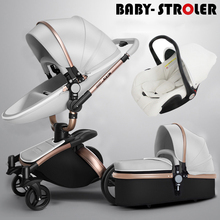AULON baby stroller 2 in 1/3 in 1 leather stroller