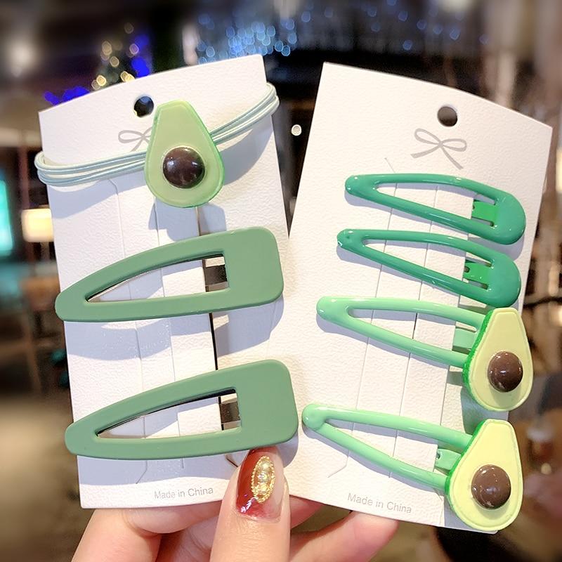1Set New Women Girls Cute Avocado Green Hairpins Sweet Headband Hair Clip Lovely Hair Ornament Barrette Fashion Hair Accessories