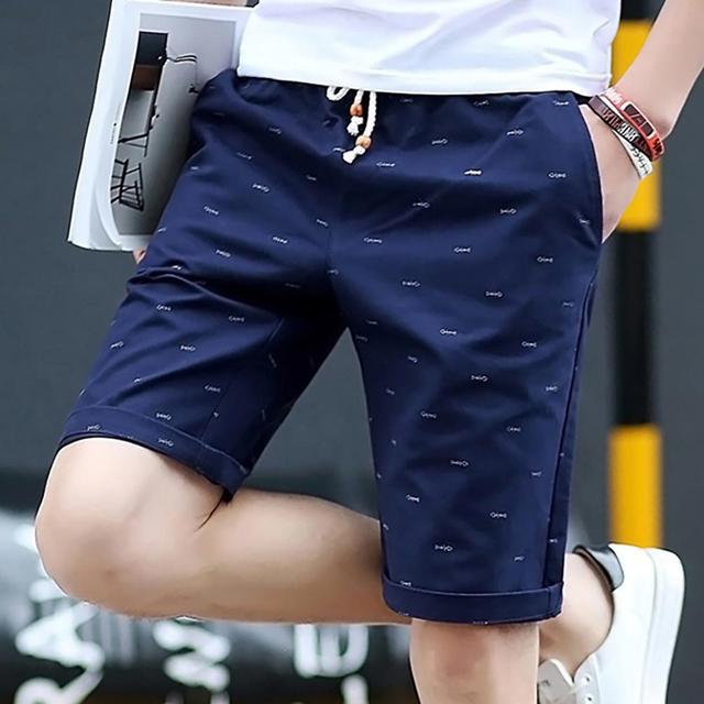 Summer Men Casual Solid Color Sport Short Pants Fishbone Print Drawstring Pockets Cotton Beach Shorts Fifth Pants 1