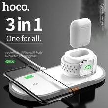 HOCO CW21 3 em 1 Carregador Sem Fio para Apple Relógio 4 3 2 1 Carregador Rápido para iPhone 11 Airpods X XS MAX 8 QI Almofada de Carregamento Sem Fio