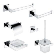 Набор аксессуаров для ванной комнаты из нержавеющей стали 304, вешалка для полотенец, крючок для халата, держатель для туалетной бумаги, держатель для полотенец, кольцо для мыла, полированная отделка