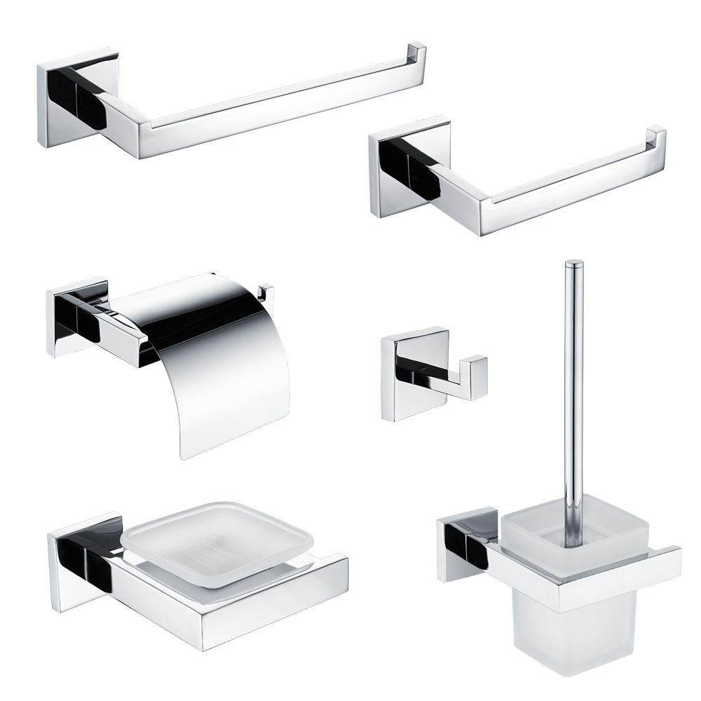 Stainless Steel 304 Bathroom Accessories Set Towel Bar Robe Hook Toilet Paper Brush Holder Towel Ring Soap Dish Polished Finish