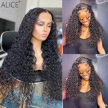 ALICE – perruque Lace Front wig Non Remy bouclée, cheveux naturels, 13x6 T, avec Baby Hair, fermeture sur le dessus du cuir chevelu, 150% de densité