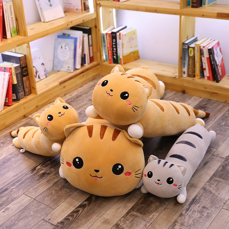 Cartoon Cat Pillow Stuffed Animal Dolls Soft Kids Toy Cat Sleep Long Plush Pillow Sofa Decorative Cushion Girl Gift Overwatch 2