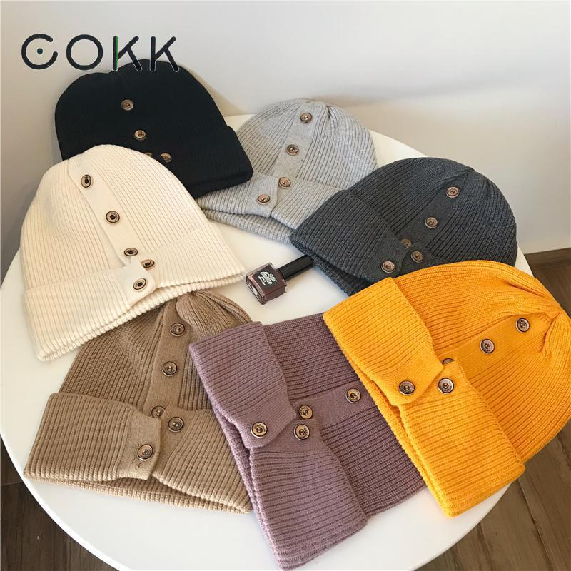 COKK Winter Hats For Women Beanies Korean Wool Knitted Cap Ladies Simple Warm Bonnet Gorras Hat With Button Korean Style New