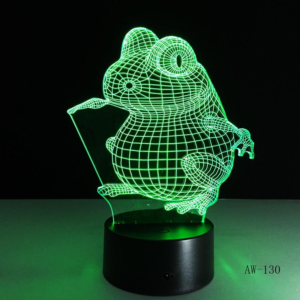 Big Eye Frog  Animal 3D Night Light Neon Lamp Home Decor USB Table Lampara Home Decor Office Light Light  AW-130