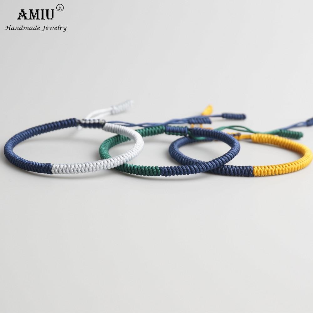 AMIU 3PCS Tibetan Jewelry Buddhism Good Lucky Charm Tibet Bracelets & Bangles For Women And Men Handmade Knots Rope Bracelet