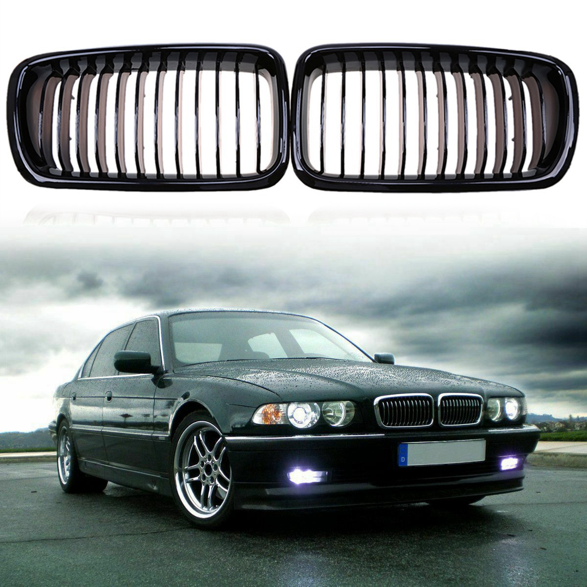 Front Bumper Hood Kidney Grille Grill for <font><b>BMW</b></font> <font><b>E38</b></font> <font><b>7</b></font> <font><b>Series</b></font> 728 730 735 740 1995-2001(Glossy Black )51138125811 51138125812 image
