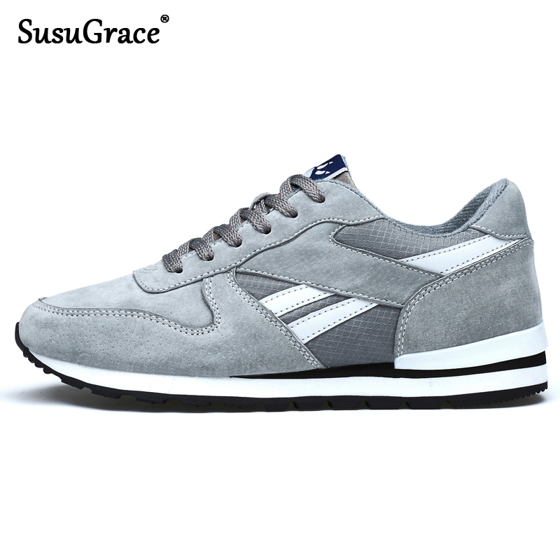 SusuGrace Men Running Shoes Genuine Leather Breathable Causal Trainers Pig Skin Outdoor Sneakers Sport Footwear Non-slip Hombres