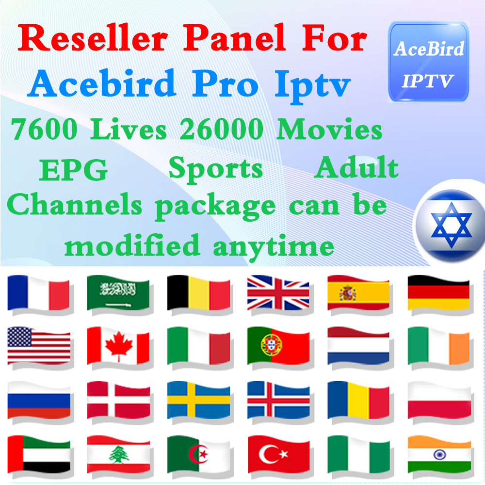 For Acebird Pro Iptv Resellers With Free Panel Germany Netherlands Spain French Italia Israel Arabic Latin