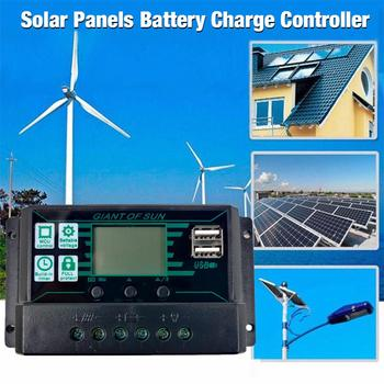 12V/24V MPPT/PWM 2-in-1 Solar Charge Controller Solar Panel Battery Intelligent Regulator with Dual USB Port and LCD Display tracer2215bn 12v 24v mppt solar battery charger controller with mt50 remote meter and temperature sensor for use