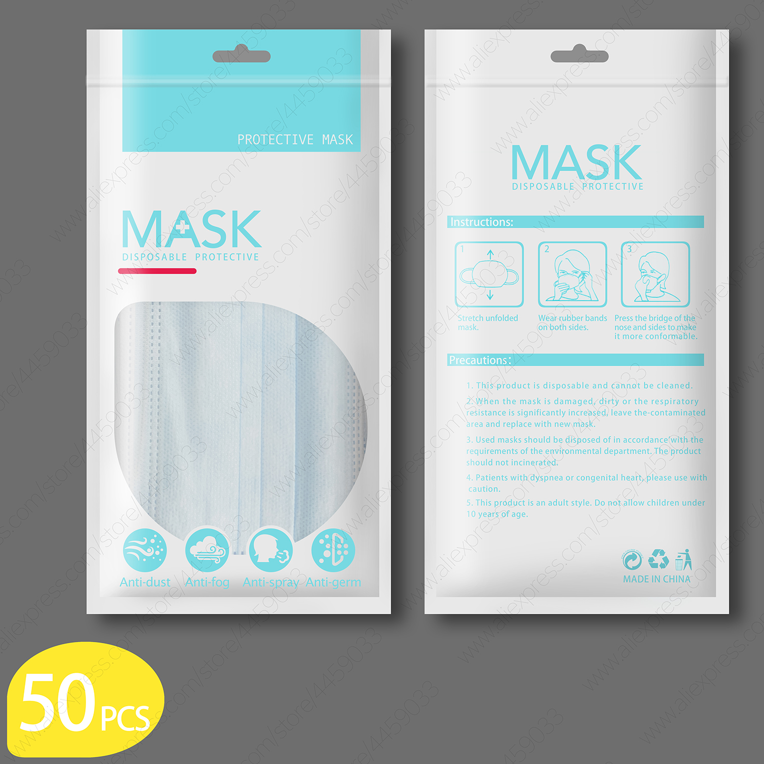 New Mask 50pcs 100pcs 20 pcs Disposable Earloop Face Mouth Masks 3  Layers Anti Dust For Surgical Medical Salon Antibacterial  -