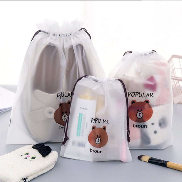 10pcs bear waterproof mouth rope bag frosted waterproof moisture-proof recyclable storage bag office supplies