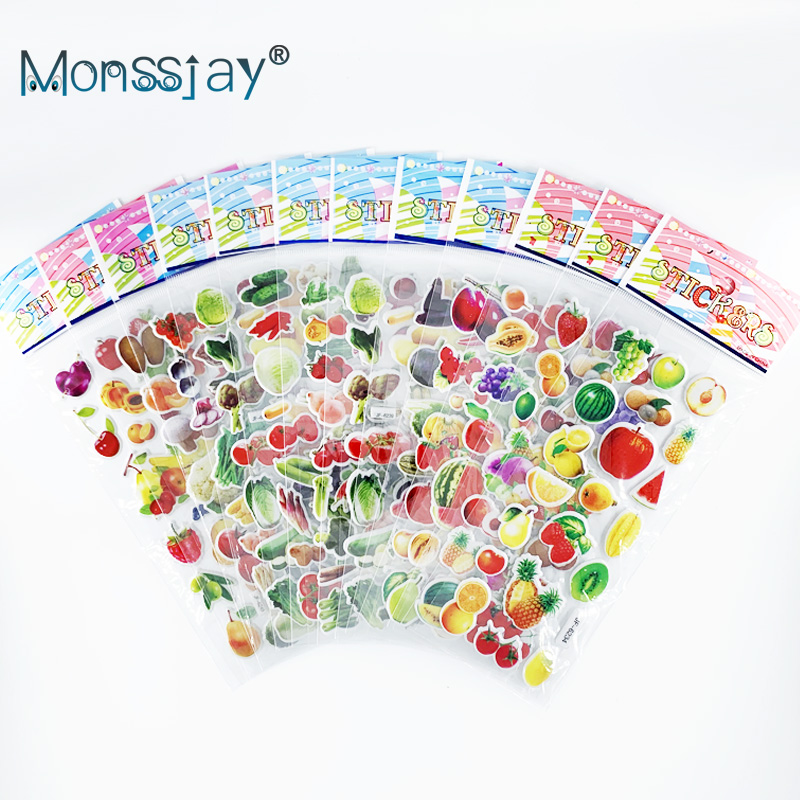 12 Sheets/set Vegetable And Fruit Style 3D Puffy PVC Stickers Kids Early Education Learning Scrapbooking Sticker Children's Gift