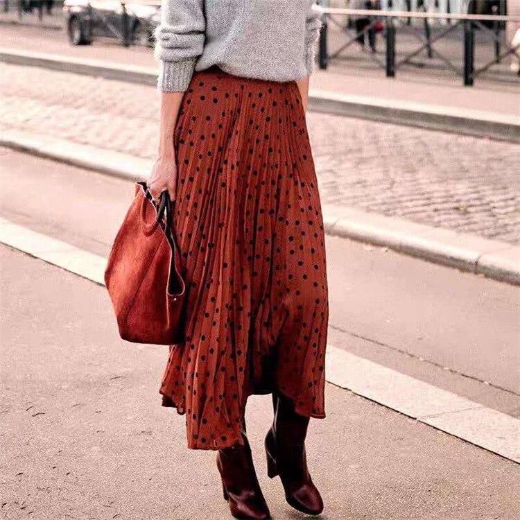Women Skirt Retro Polka Dot Caramel Pleated Long Skirt
