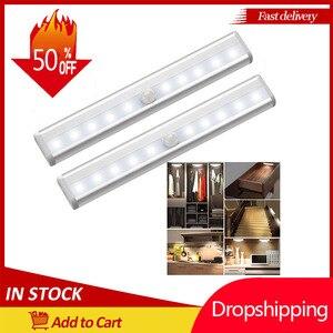10 LEDs PIR LED Motion Sensor Light Cupboard Wardrobe Bed Lamp LED Under Cabinet Night Light For Closet Stairs Kitchen Dropship