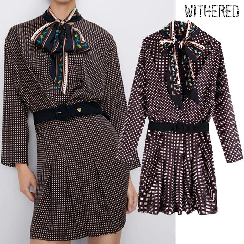 Withered Autumn Dress Women Vestidos England Elegant Office Lady Bow Sashes Vestidos De Fiesta De Noche Mini Party Dress Blazer