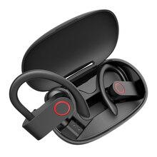 Kablosuz Bluetooth kulaklık spor kulaklıkları kulak kancası V5.0 TWS kulaklık HiFi ses mikrofonlu kulaklık