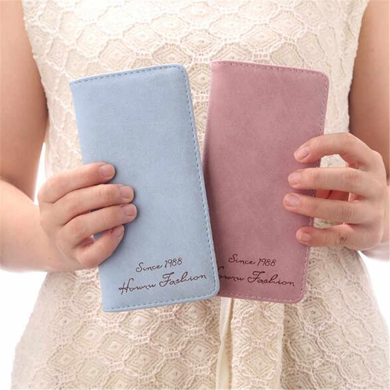 Novas mulheres carteira longa ultra-fino personalidade moda maré bolsa sacos rosto macio fosco vintage dinheiro embraiagens carteiras