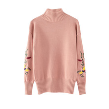 New 2019 Autumn Winter Women Sweater Turtleneck Floral Embroidery Knitted Jumper Top Loose Casual Warm Pull Femme Sweater Women goocheer autumn winter new women fluffy crop turtleneck pullover knitted plush warm zip up loose sweater jumper knitwear top