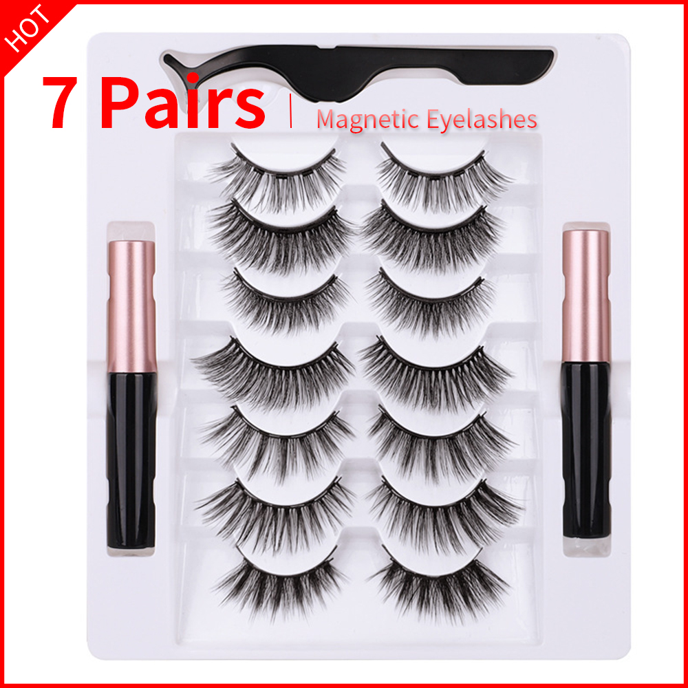 7 Pairs Eye Lashes Magnetic Eyelashes and Eyeliner Set False Eyelashes Magnet Extension Liquid Eyeliner & Tweezer Set Waterproof