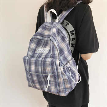 Preppy Plaid Women Backpack Large Anti-theft Lady Travel Tote Packbag Cotton School Book Bags for Teenage Girls Mochila Femenina - DISCOUNT ITEM  35 OFF All Category
