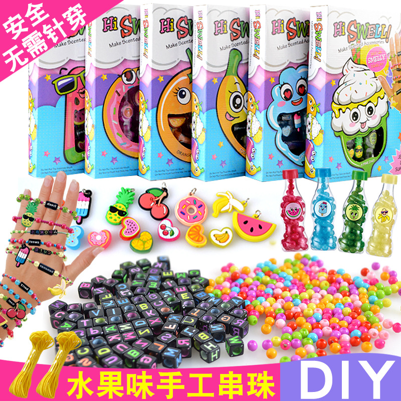 Creative-Fruit Flavor DIY Beaded Bracelet Flexible Bracelets Children Beaded Bracelet Necklace Handmade Bead Toy