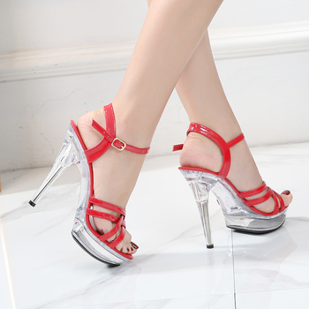Sandals Shoes Woman Summer Ladies  Transparent High Heels 13CM Platform Open Toe Women Wedding - discount item  35% OFF Women's Shoes